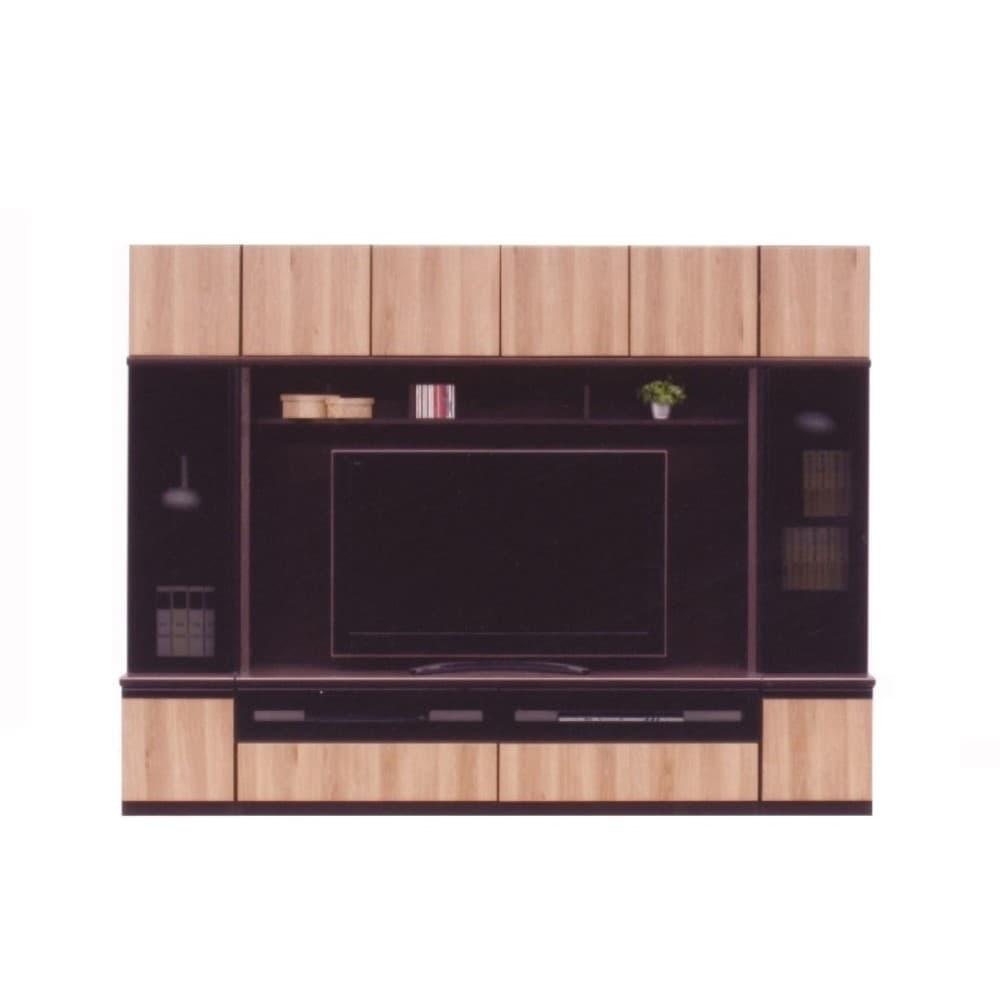 1800TV+400右リビング+400左リビング+上キャビ 本体D色/前板 キャナルオーク色