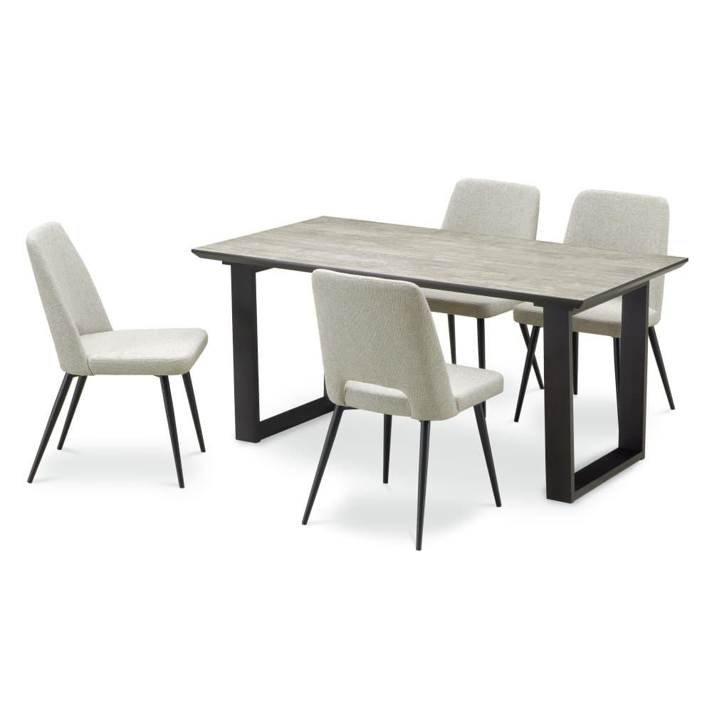 W1500ロック色(2LEG)テーブル+DC-5(GRE)×4脚