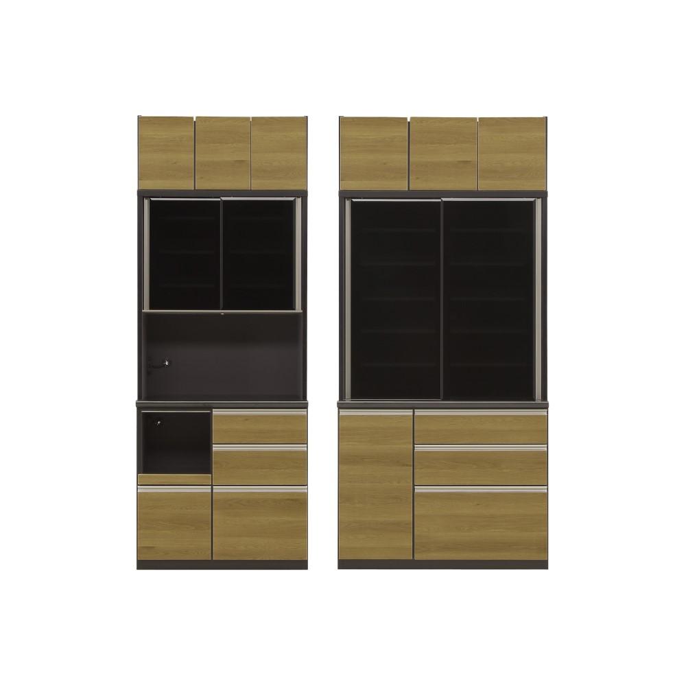 W900レンジ+W1100食器棚+上置 前板/キャナルオーク色