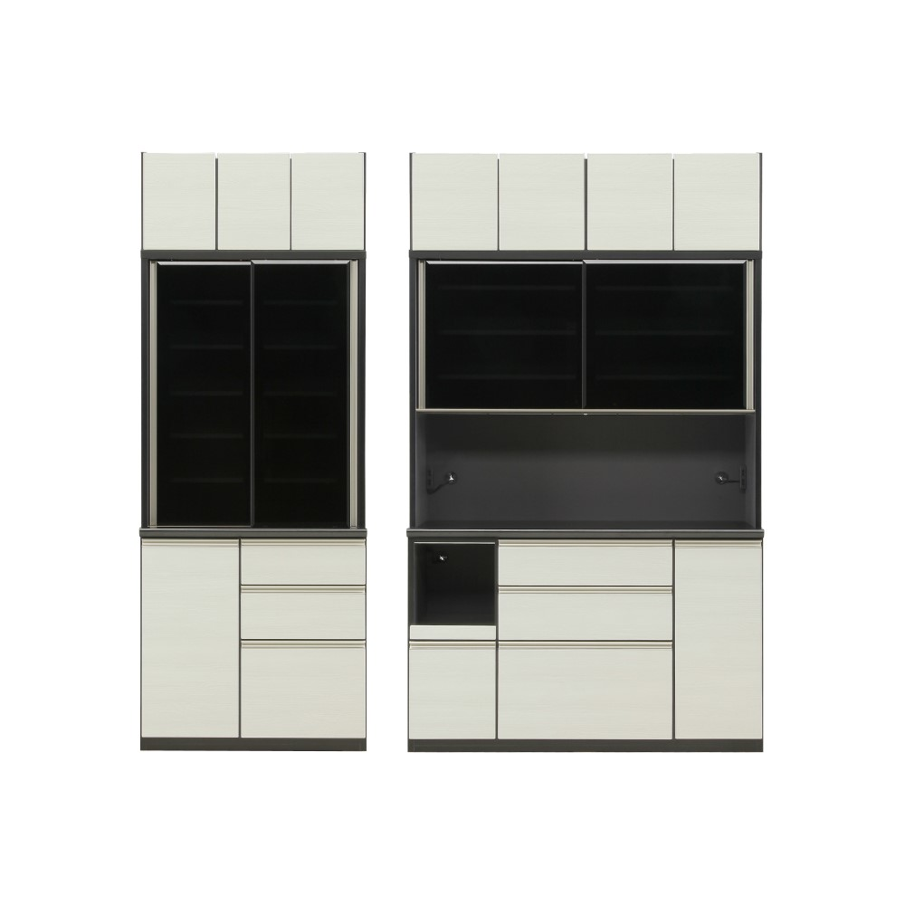 W900食器棚+W1400レンジ+上置 前板/ゼブラホワイト色