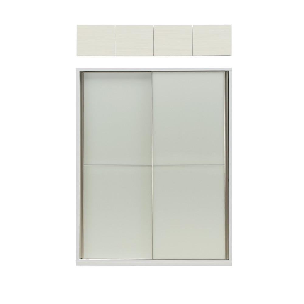 W1600H収納+上置(ゼブラホワイト色) 本体WH色/前板 ガラス/ガラス仕様(※別注)