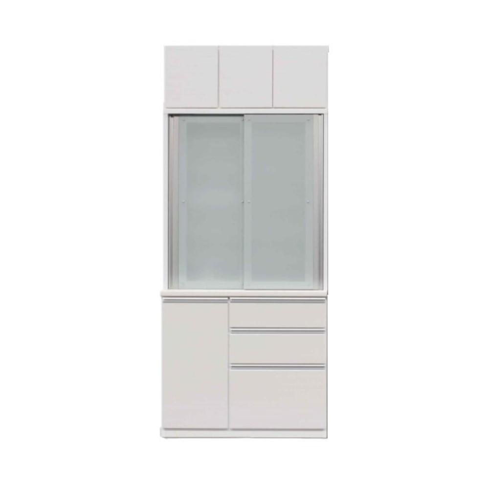 1000食器棚+1000上置/前板 ゼブラホワイト色