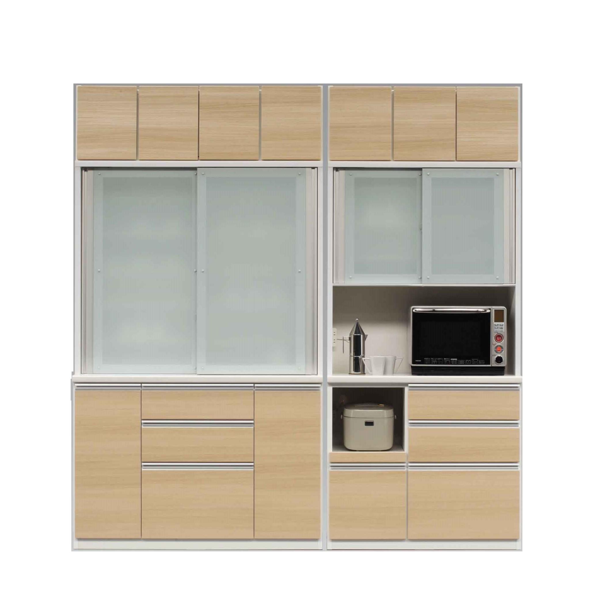 1300食器棚+1100レンジ+上置/前板 ノーブルオーク色