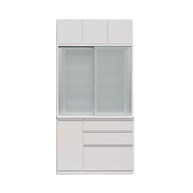 1200食器棚+1200上置/前板 ゼブラホワイト色