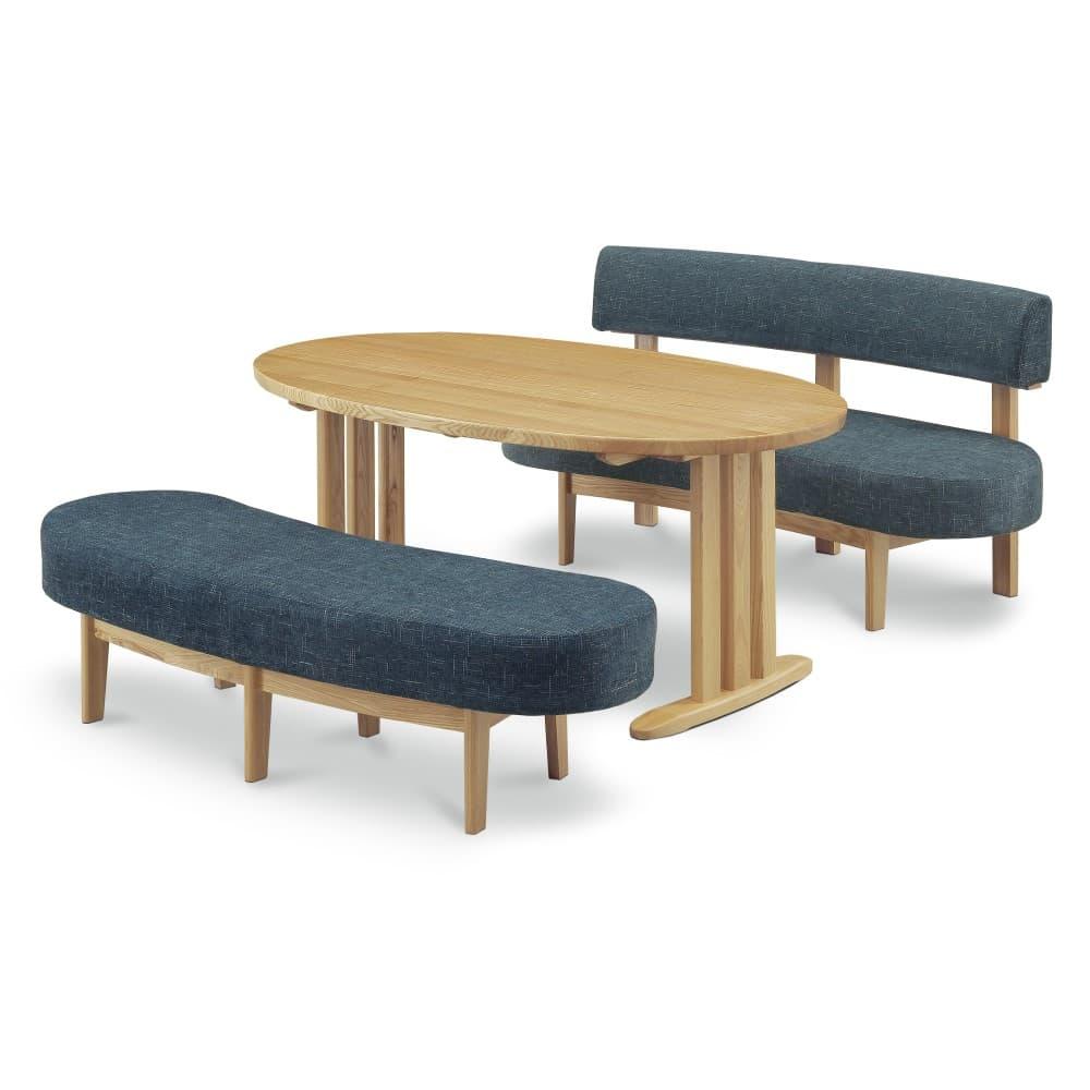 W1600テーブル+1400背付ベンチ+1400ベンチ (ブルー色)