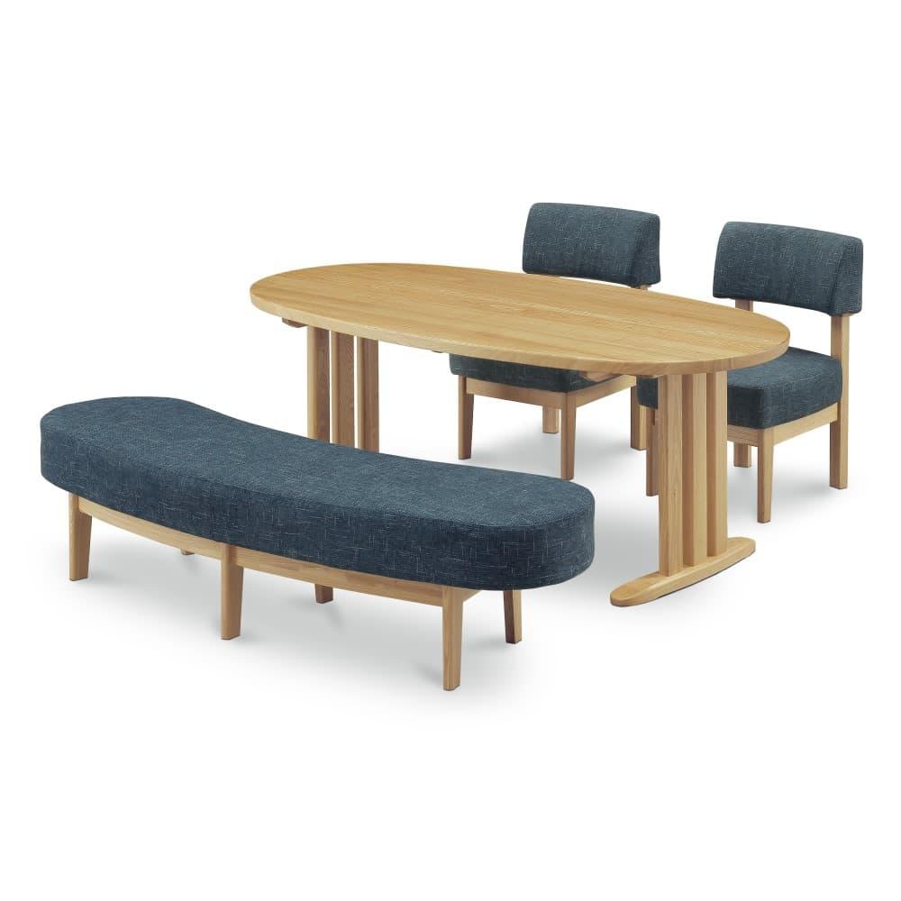 W1800テーブル+1600ベンチ+イス×2脚 (ブルー色)