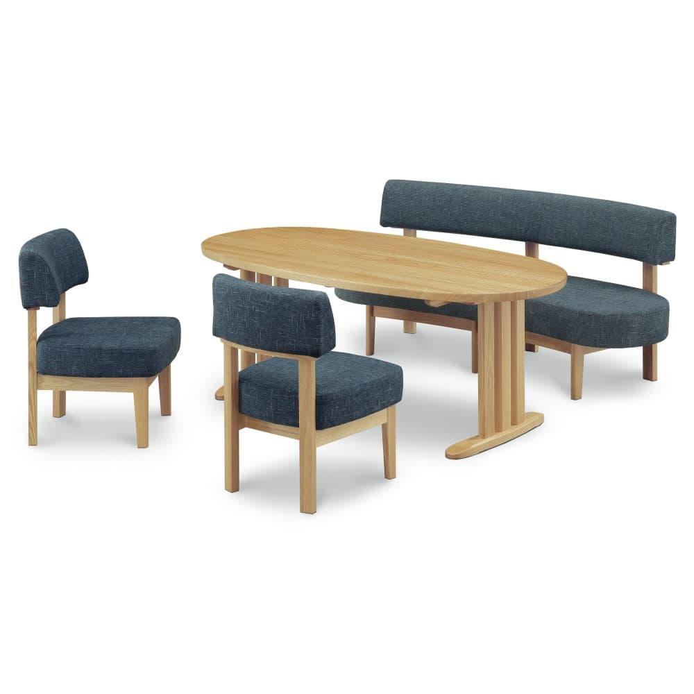 W1800テーブル+1600背付ベンチ+イス×2脚 (ブルー色)