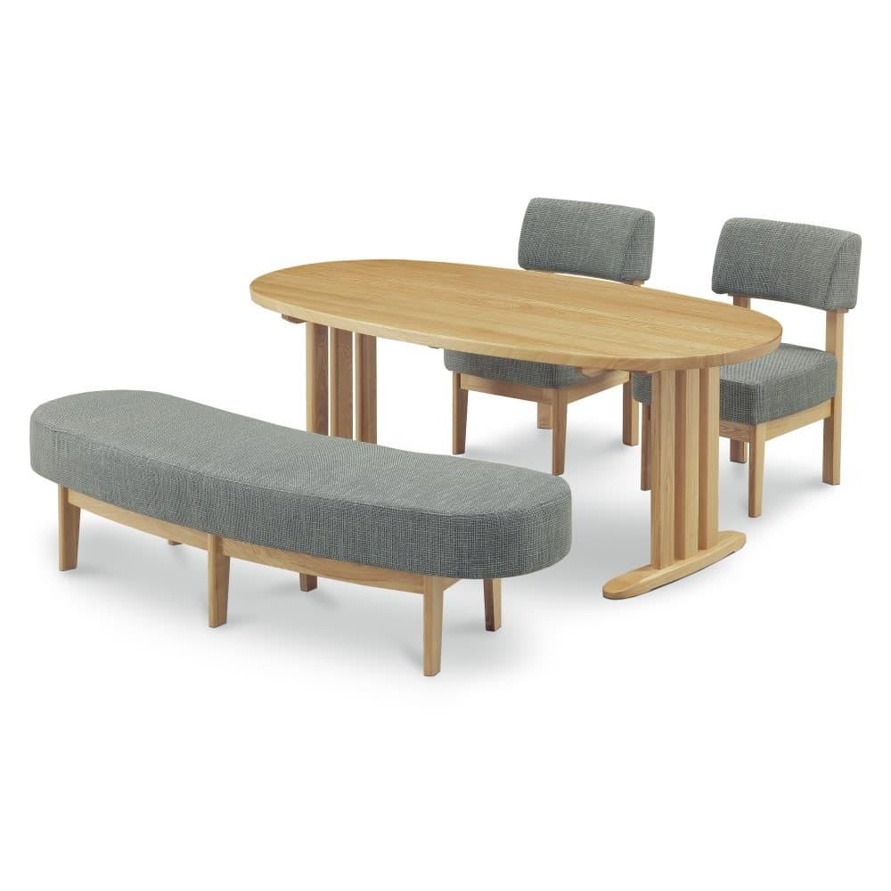 W1800テーブル+1600ベンチ+イス×2脚 (グレー色)