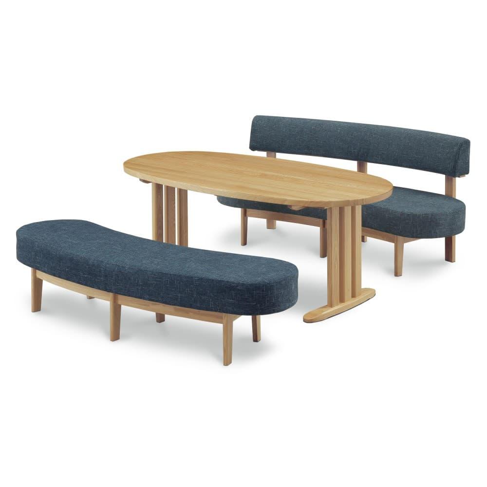 W1800テーブル+1600背付ベンチ+1600ベンチ (ブルー色)