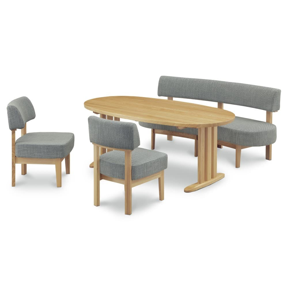 W1800テーブル+1600背付ベンチ+イス×2脚 (グレー色)