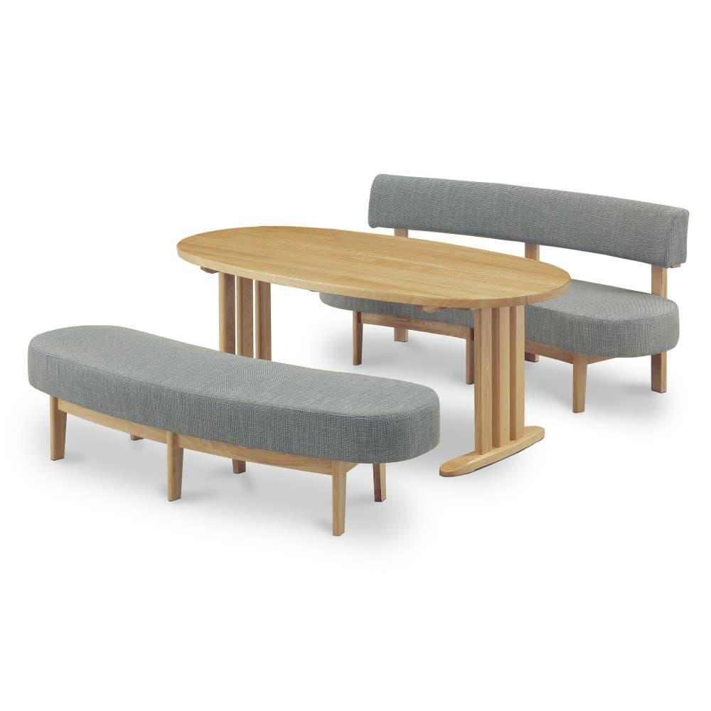 W1800テーブル+1600背付ベンチ+1600ベンチ (グレー色)