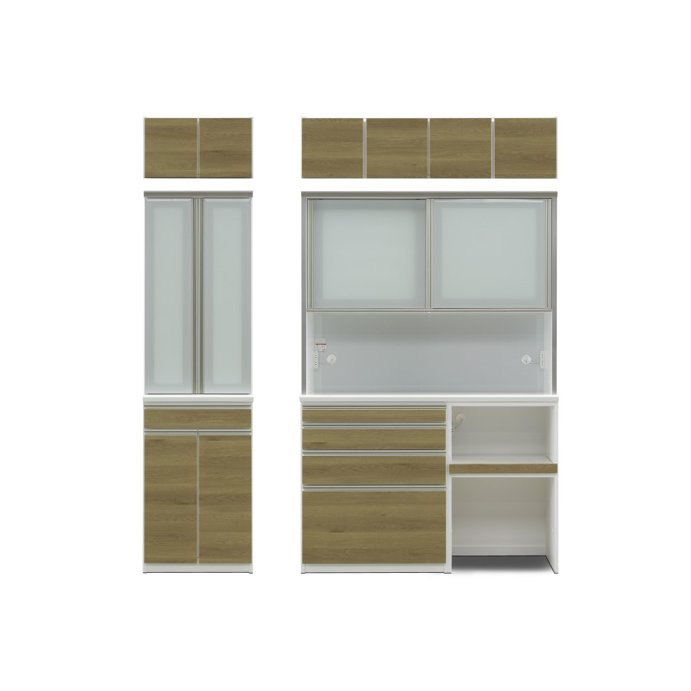 600食器棚(600上台+下台600B)+1400レンジ(1400上台+下台800C-1+600F)+上置 前板/カナディアン色