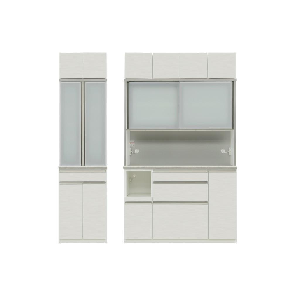 W600食器棚+W1400レンジ+上置 本体 WH色/前板 ゼブラホワイト色/天板 ロック色