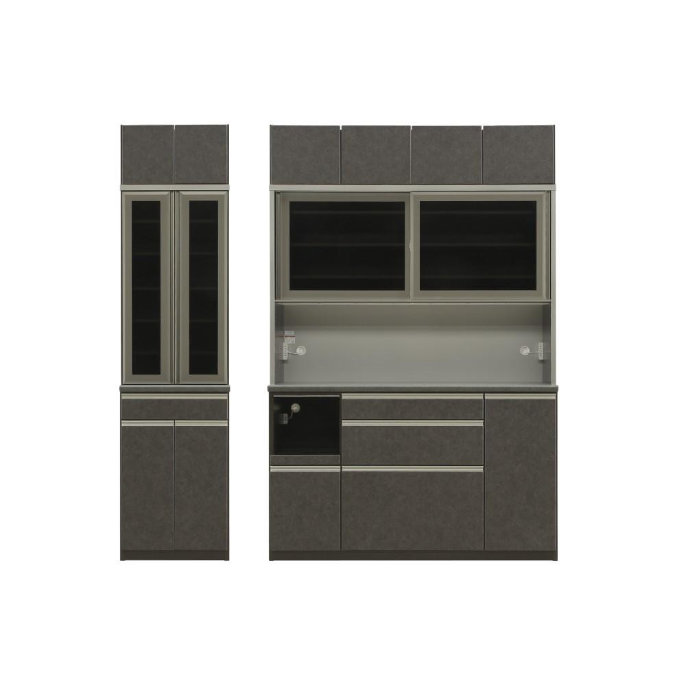 W600食器棚+W1600レンジ+上置 本体 D色/前板 クローチェ色/天板 クルーズ色