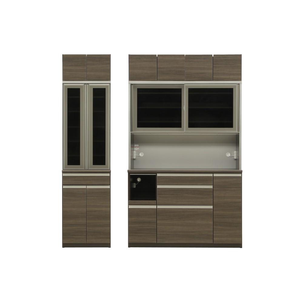 W600食器棚+W1400レンジ+上置 本体 D色/前板 シガーナッツ色/天板 ウォールナット色