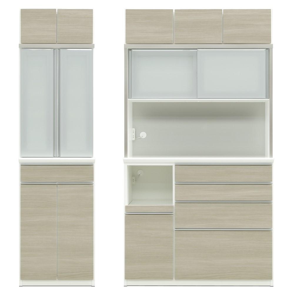 W600LD食器棚+W1200LDレンジ+上置 前板/アーバンウォール色