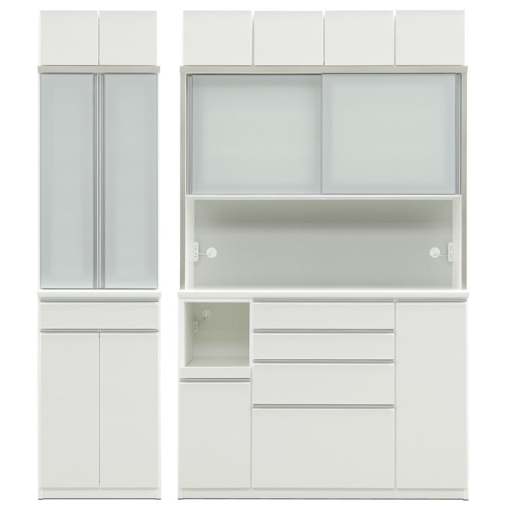 W600HD食器棚+W1400HDレンジ+上置 前板/ゼブラホワイト色