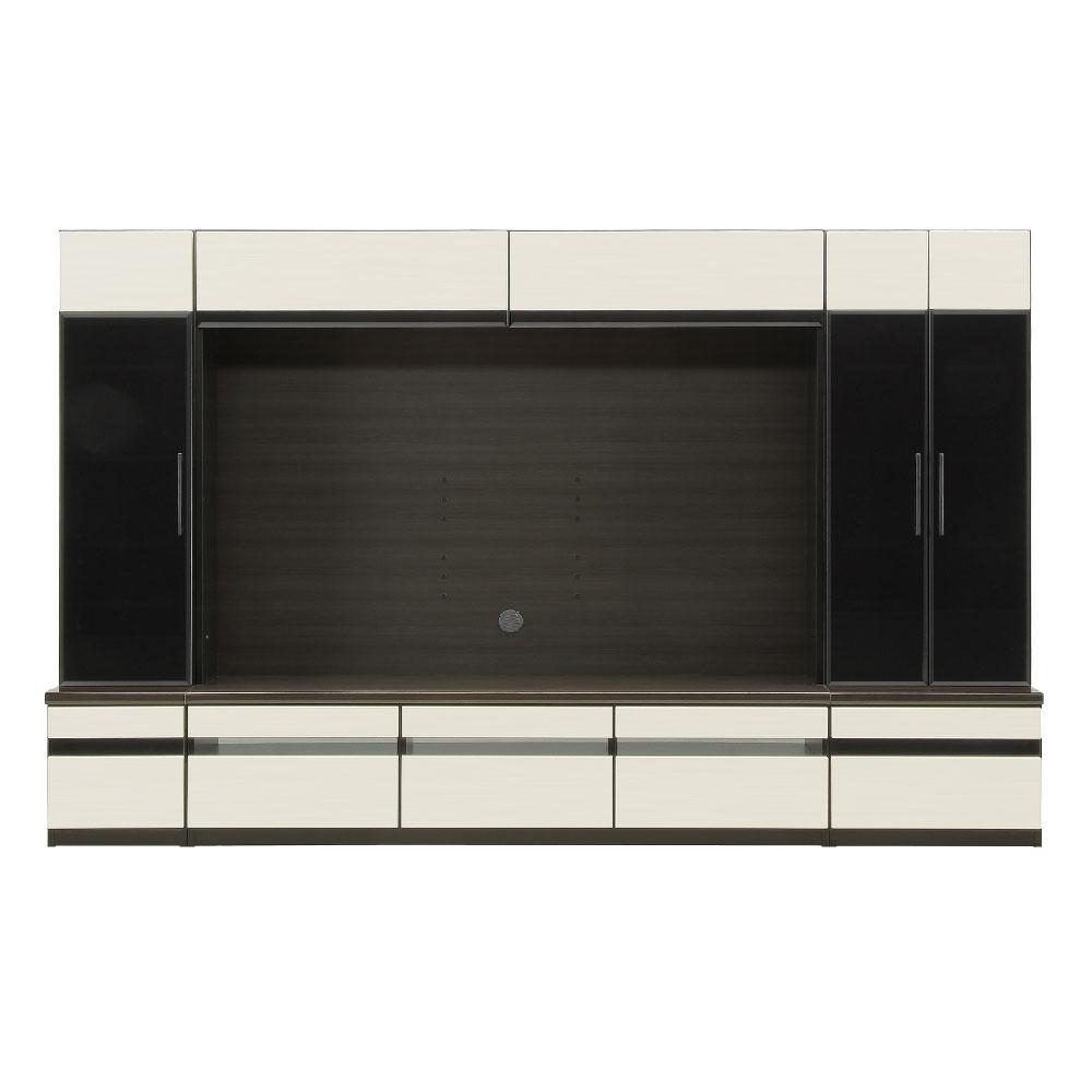 400左ガラス+1800TV+600リビング 本体BK色/前板 ゼブラホワイト色