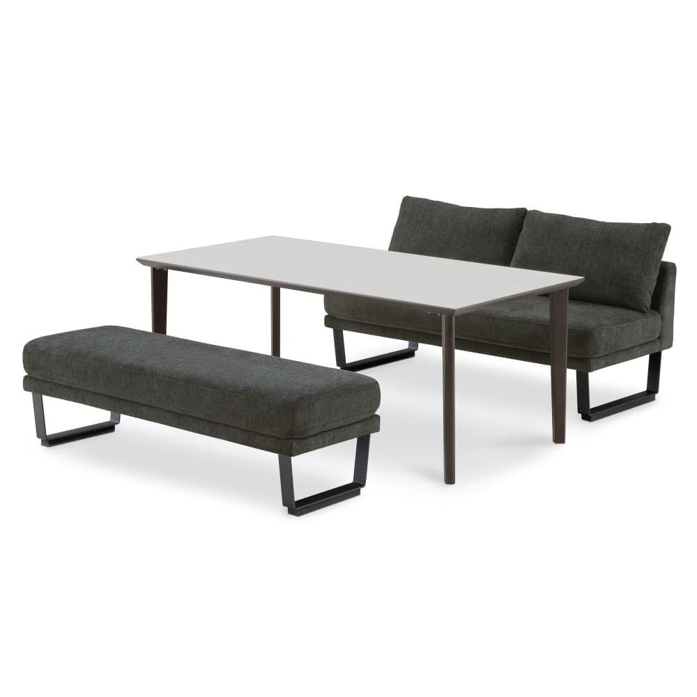 1500テーブル(WH色/2LEG)+ホーク1250ベンチ+ホーク1250背付きベンチ